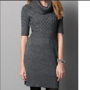 LOFT Cowl Neck Cable Knit Wool Sweater Dress